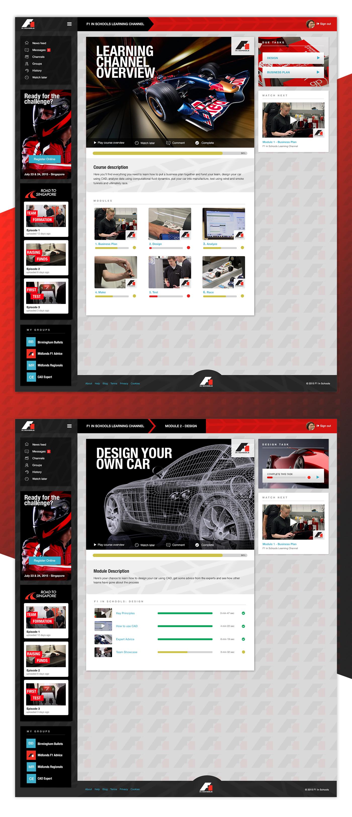 F1 in Schools - UI and UX design concept
