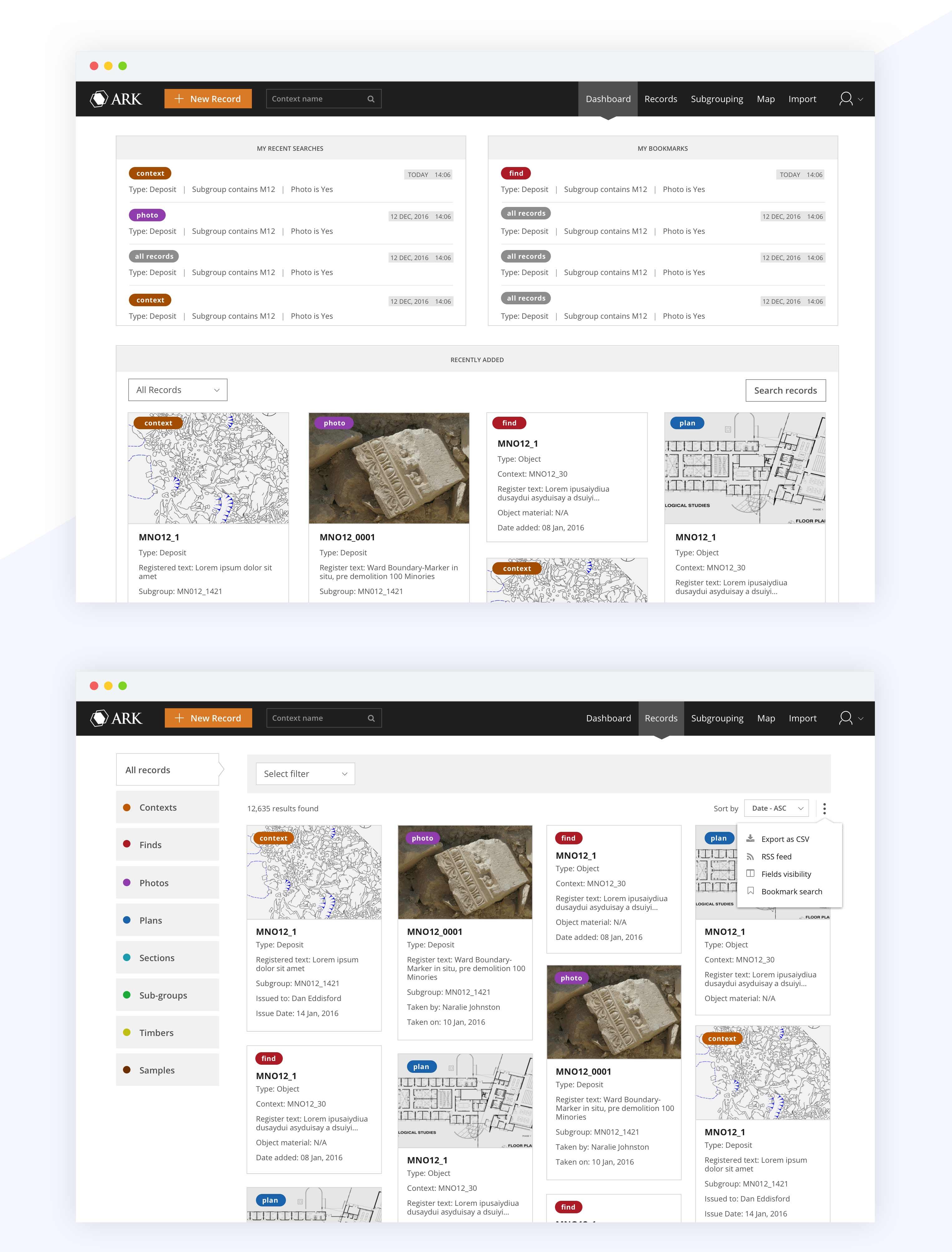UI Mockup for dashboard