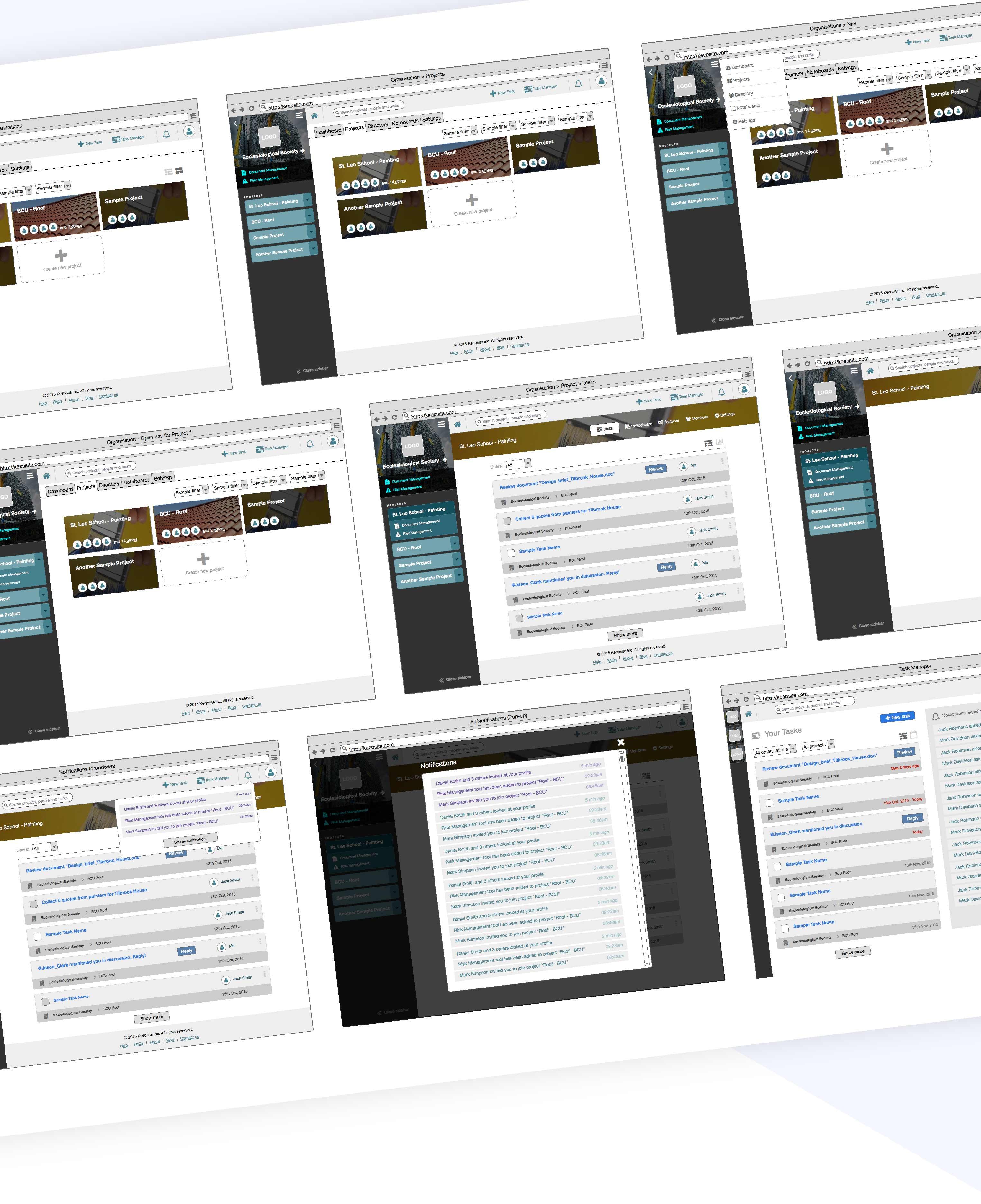 wireframes for desktop