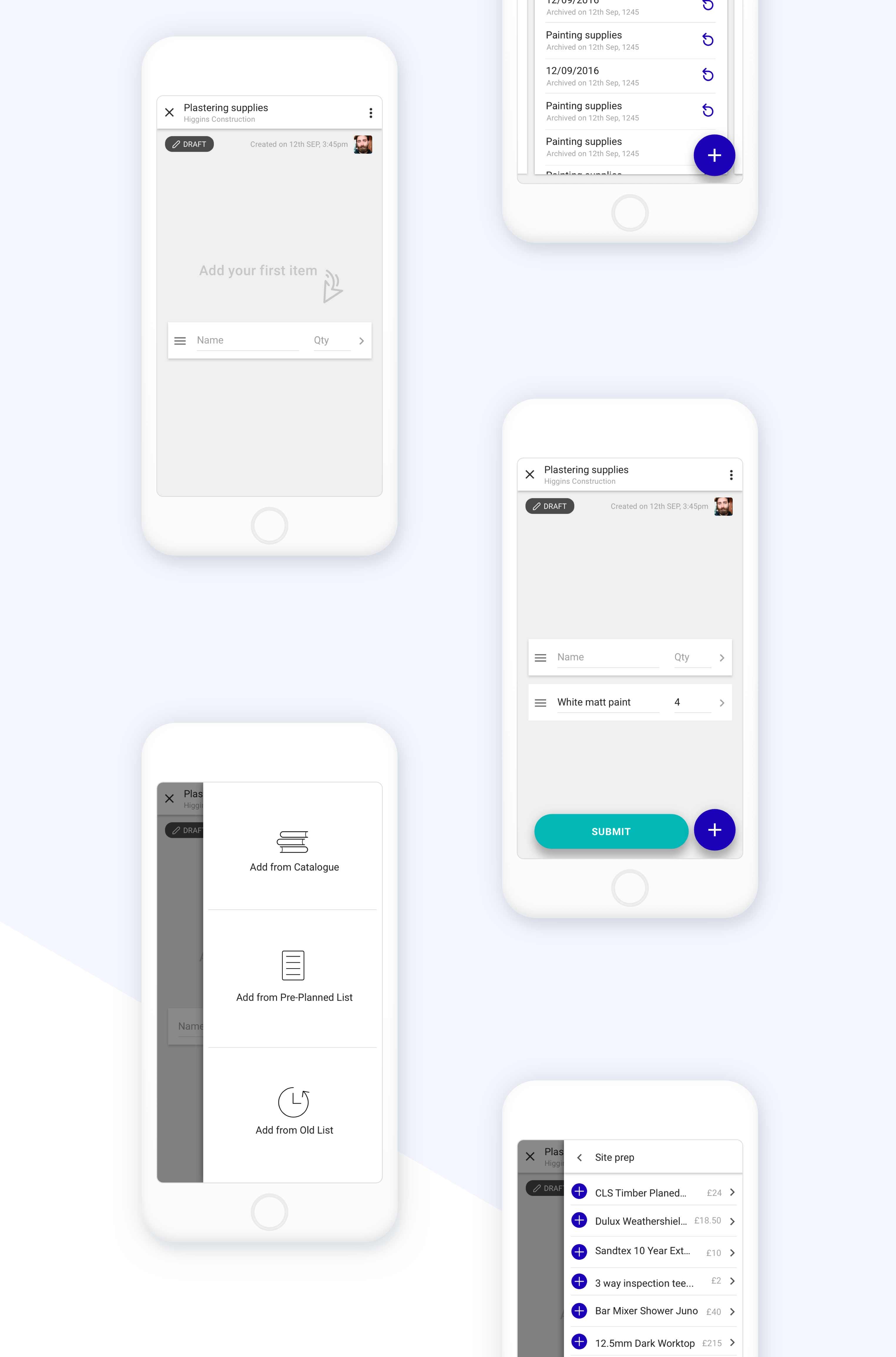 UI design mockups for dashboard