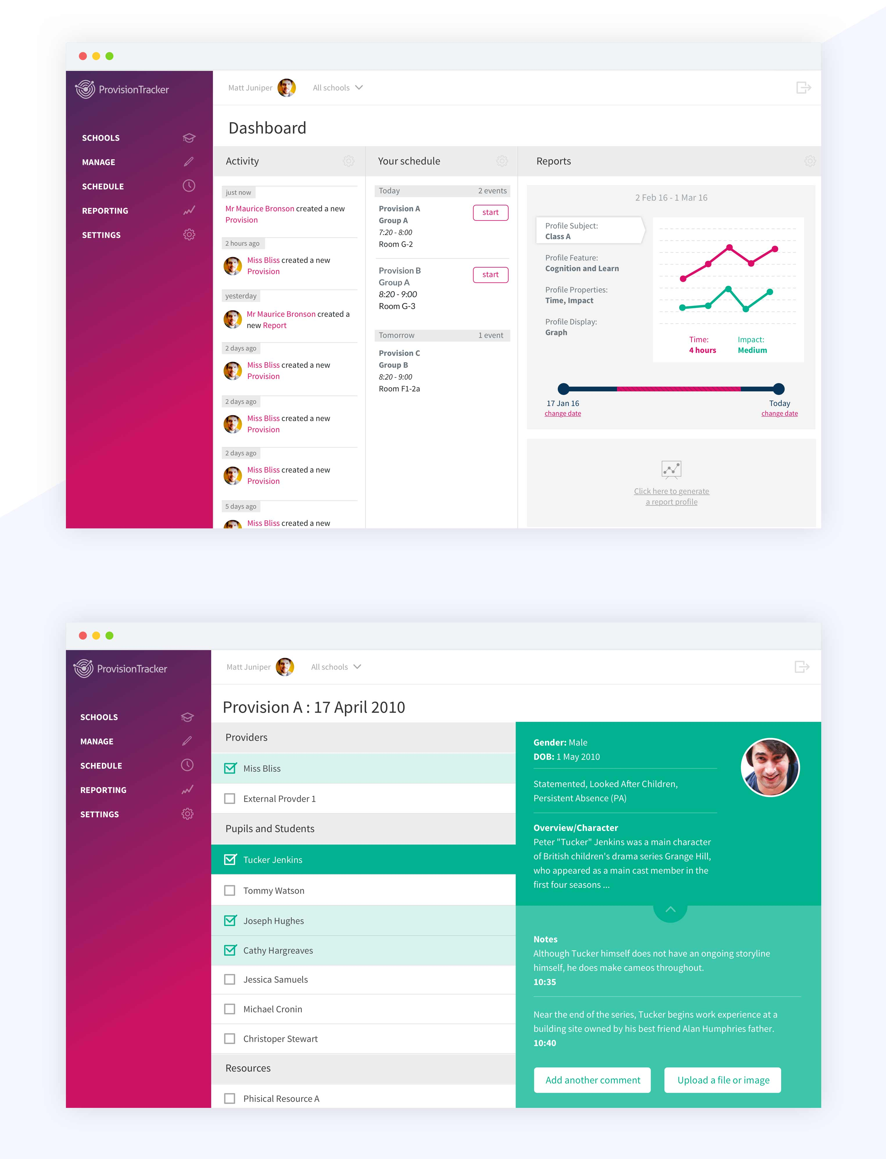 Design for dashboard for the Ed platform Provision Tracker